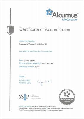 Alcumus SafeContractor accreditation valid until 30 June 2022