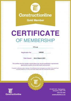 PTI Ltd Construction Line Gold Certificate March 2021